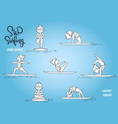 Paddle board yoga poses set vector