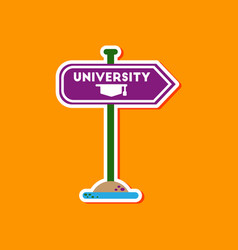 Paper sticker on stylish background university vector