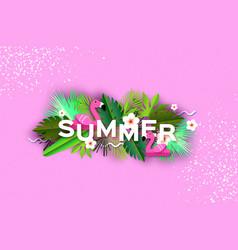 Pink flamingo float tropical summer daysummer vector