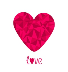 Pink heart Polygonal effect Love card Isolated vector image