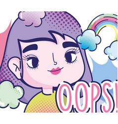 pop art cartoon girl rainbow clouds oops fashion vector image