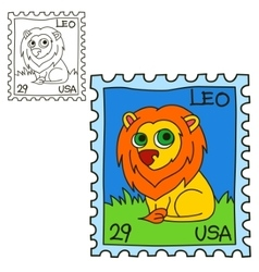 Postage stamp Coloring book page vector image