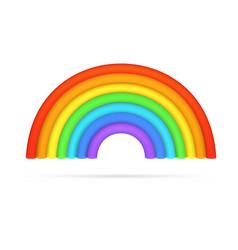 Realistic bright rainbow arch 3d icon vector