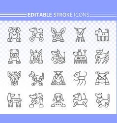 robot dog simple black line icons set vector image