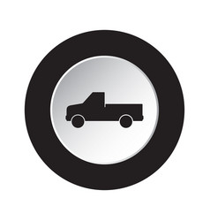 Round black white button - pickup with a flatbed vector