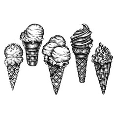seamless pattern with black and white ice cream vector image