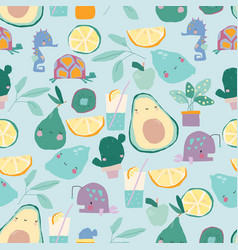 Seamless pattern with cartoon fruits and plants vector