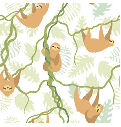 Seamless pattern with cute sloth vector