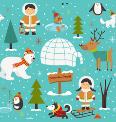 Seamless pattern with eskimos and arctic animals vector