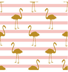 Seamless pattern with golden flamingos vector