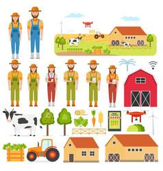 set happy farmers and smart farming elements vector image