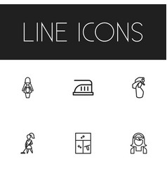 set of 6 editable hygiene icons line style vector image
