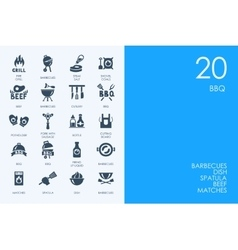 Set of BLUE HAMSTER Library BBQ icons vector image