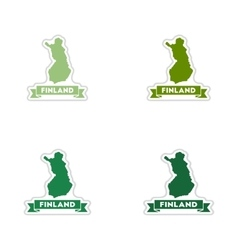 Set of paper stickers on white background Finland vector image