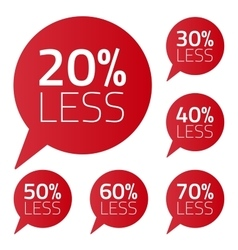 Set of percent less speech bubble sale business on vector