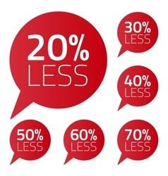 Set percent less speech bubble sale business on vector