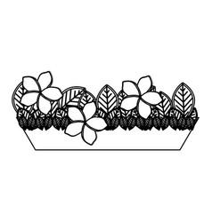 Silhouette garden flower plantpot decorative vector