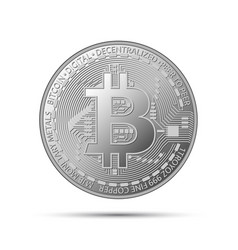 silver bitcoin coin crypto currency silver symbol vector image