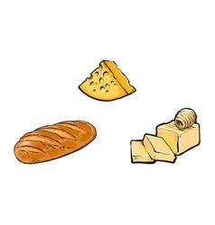 Sketch cartoon dairy products bread loaf vector