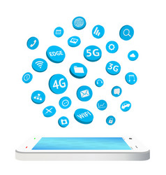 smartphone with connection apps icon floating vector image