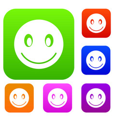 Smiling emotset collection vector