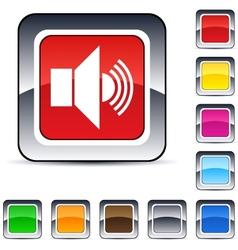 Sound square button vector image
