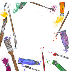 stationery art materials set of paint brushes vector image