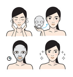 Steps how to facial care vector