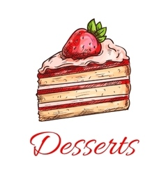 Strawberry cake sketch for pastry shop design vector