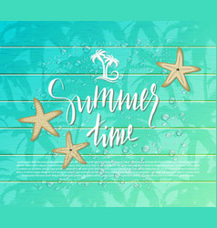 Summer background with starfish and drops on vector