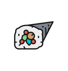 temaki roll japanese cuisine flat color vector image