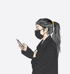 the masked woman was ill himself vector image