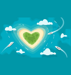 Tropical heart shaped romantic island vector