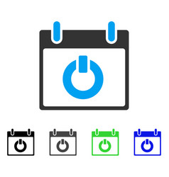 Turn on calendar day flat icon vector