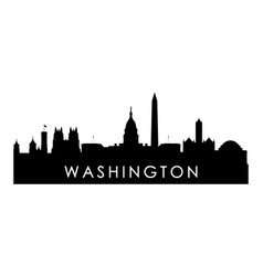 washington skyline silhouette black washington vector image