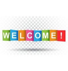 Welcome tag market message flat on isolated vector