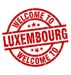 Welcome to luxembourg red stamp vector