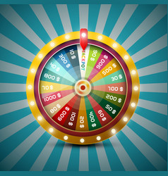 Wheel of fortune on retro blue background vector