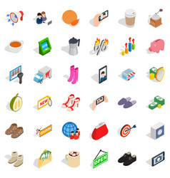 woman sale icons set isometric style vector image
