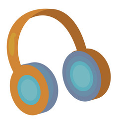 yellow headphones on white background vector image
