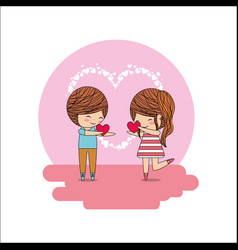 cute little happy couple with hearts in hands vector image
