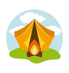 camping tent with campfire icon vector image