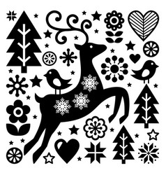 christmas black and white folk pattern sca vector image vector image