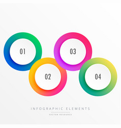 colorful four steps circular infograph vector image