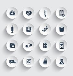 medicine icons health care ambulance hospital vector image