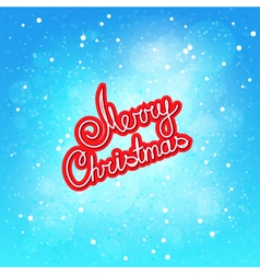 Red text merry christmas on winter background vector
