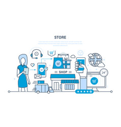 store and online purchase delivery support vector image