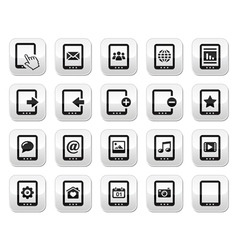 Tablet grey square buttons set - vector image