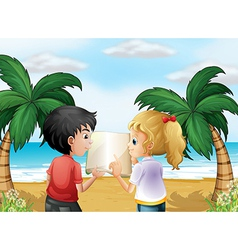 A beach with two kids discussing vector image vector image