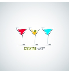 cocktail party glass menu background vector image vector image